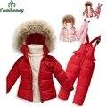 Детские snowsuit дети 2 шт. лыжные костюмы зимние комбинезоны, дети камуфляж вниз набор спортивные костюмы для девушки парни флис комбинезон