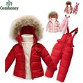 Baby snowsuit children 2pcs ski suits winter overalls kids camouflage down set sports costumes for girls boys fleece jumpsuit