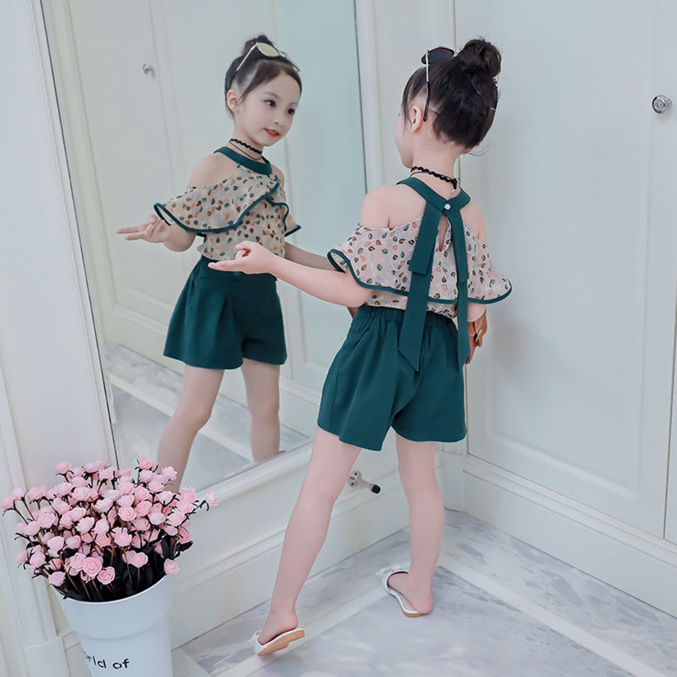 Summer Kids Girls Clothing Striped Tops Blouse Shorts Outfits Sets Age 0~6Y