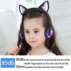 Image 3 - Jinserta bluetoothイヤホン猫耳ワイヤレスヘッドフォンマイク点滅グローイングw/ledライトpcのラップ大人の子供