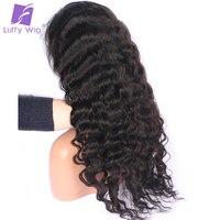 Луффи предварительно выщипать глубокая волна бразильский Full Lace парики натуральные волосы с ребенком волос не Реми отбеленные узлы естеств