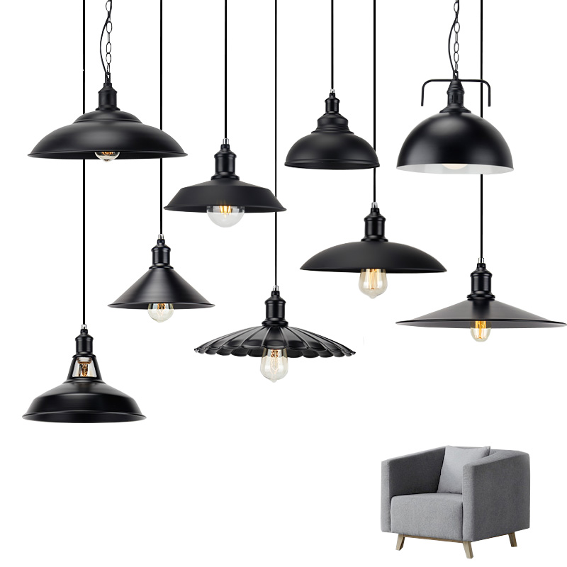 110V 220V Retro Hanging Lamp, Industrial Style Vintage Pendant Lights with Metal for Bar Cafe Restaurant E27 Edison Lamp ,Black, new loft vintage iron pendant light industrial lighting glass guard design bar cafe restaurant cage pendant lamp hanging lights