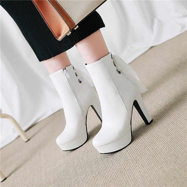 f04e9e840 YMECHIC/2018 г. белые свадебные туфли на платформе и высоком каблуке  Женская обувь Зимняя