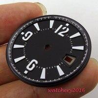 31.5mm nero quadrante sterile macchie bianche fit 2836 Mingzhu ETA 2813 movimento quadrante Dell'orologio degli uomini