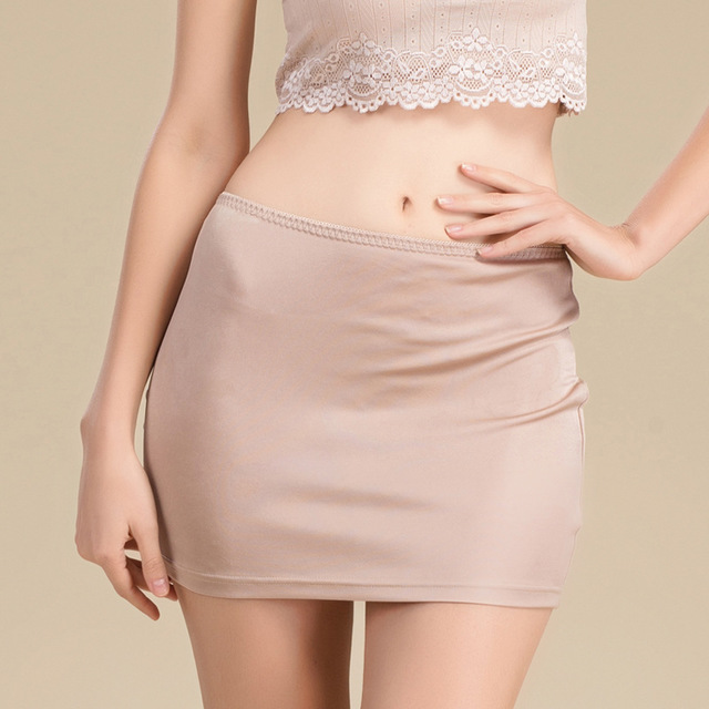 2018 new silk hip skirt female anti-lighting bottom skirt half Slips Petticoat woman underskirt intimates ladies