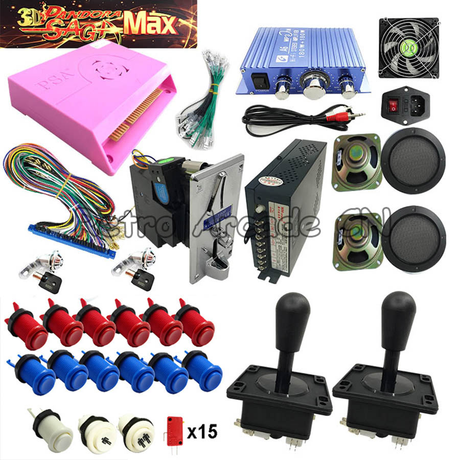 3D Pandora Max Arcade DIY Kit With 2255 In 1 Jamma Board Happ Joystick Button Coin Acceptor For Coin Operate Game Machine