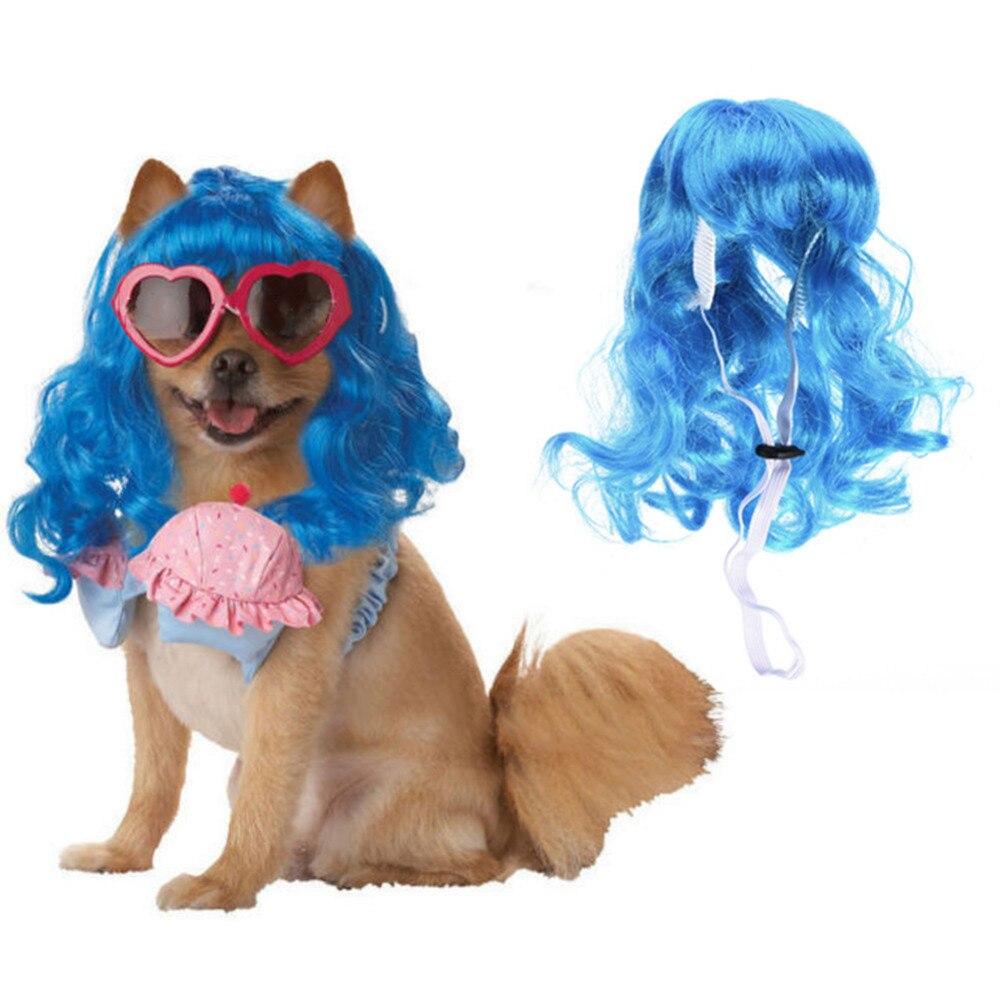 Синий длинные вьющиеся волосы дизайн высокая температура волокна Pet парик Coplay волос petwig для Рождество фестиваль Хэллоуин decoratons