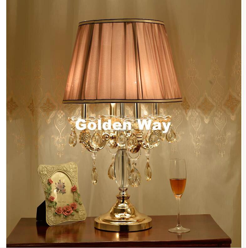 Бесплатная доставка K9 Кристалл Настольная лампа d40cm H67cm E14 современный кристалл лампы Освещение Спальня ночники Роскошные настольная лампа ...