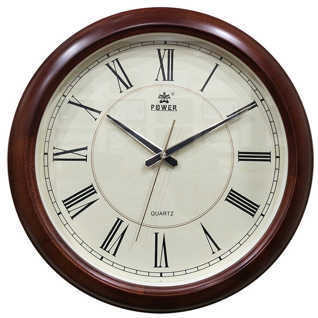 Puissance Marque Nouvelle Circulaire Grand Mur Horloge Simple Bois