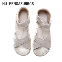 New 2016 Genuine Leather Sandals Pure Handmade White Shoes The Retro Art Mori Girl Flats Shoes