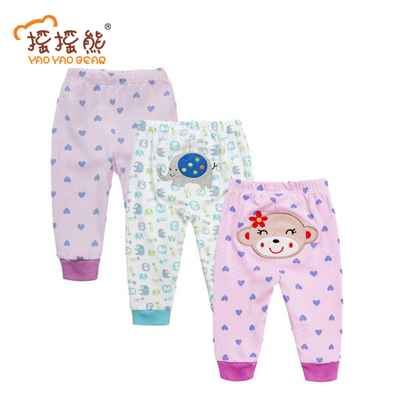 3 PCS/LOT Baby Pants Baby Cartoon Embroidered Animal Girls Leggings Summer&Spring Pants Boy PP Pants 0-24 M Baby Trousers