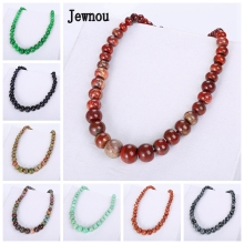 Jewnou Red Jasper Necklace Fashion Lady Choker Natural Crystal Jewelry Collier Femme Fantaisie Jade Gift Amber Bijoux Balance