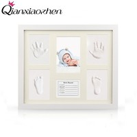 Qianxiaozhen Newborn Baby DIY Handprint Footprint Photo Frame Baby Frame Nontoxic Fingerprints Inkpad Baby Shower Souvenir