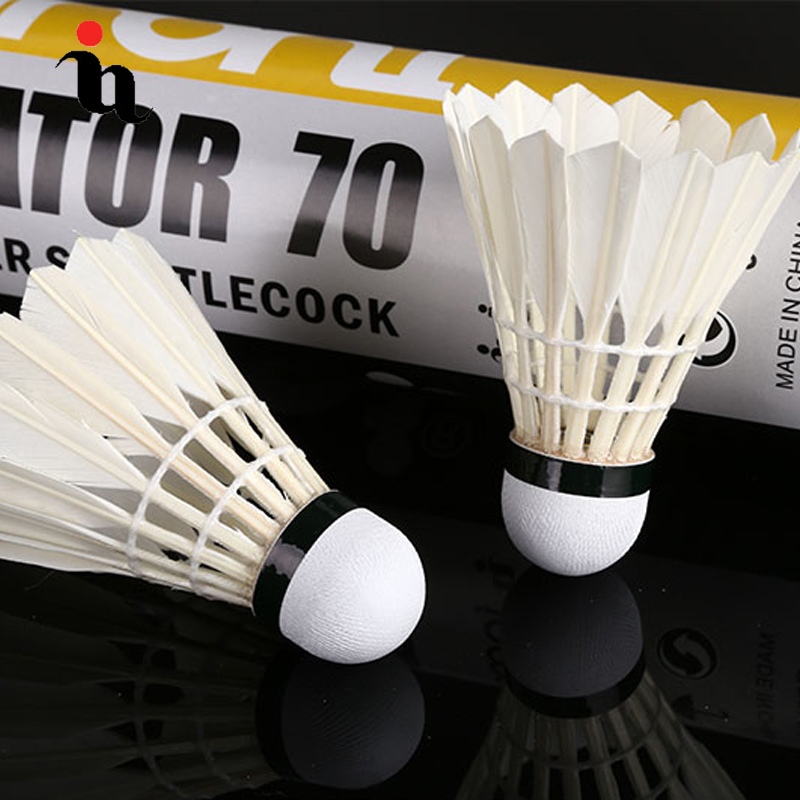 IANONI Badminton Ball A70 12 Black Goose Feather Wash White Training Ball High Quality Speed 77