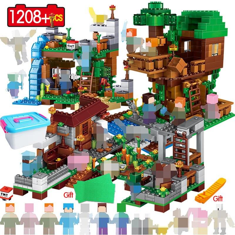 My World Village Warhorse 3in1 1208 pièces blocs de construction LegoING Minecrafted ville arbre maison cascade jouets éducatifs pour les enfants