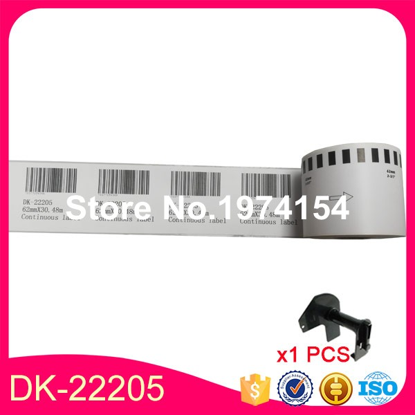 "7x Rolls Brother Compatible DK-22205, DK 2205 Continuous Labels 62mm x 30.48M (2-3/7"" x 100"") With 1X Reusable Plastic Cartridge"