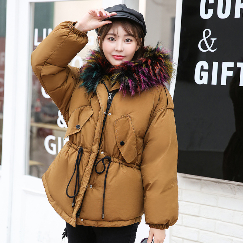 New 2017 Fashion Winter Short Jacket Big Fur Collar Hooded Camouflage Print Thicken Warm Coat Cotton Wadded Female Outwears women winter coat leisure big yards hooded fur collar jacket thick warm cotton parkas new style female students overcoat ok238