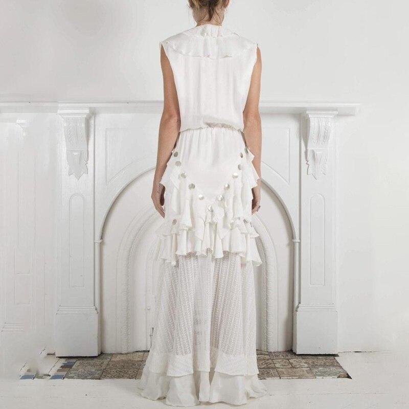 TWOTWINSTYLE Sommer Ärmellose Frauen Kleid V ausschnitt Hohe Taille Aushöhlen Rüschen Bandage Split Maxi Kleider Weibliche Elegante 2019-in Kleider aus Damenbekleidung bei  Gruppe 3