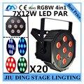 20 шт./7X12 W led Par свет RGBW 4in1 плоским пар led управления dmx диско свет профессиональный dj оборудование