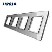 Livolo роскошная белая Хрустальная стеклянная панель, 294 мм * 80 мм, стандарт ЕС, четырехъярусная стеклянная панель для розетки C7-4SR-11
