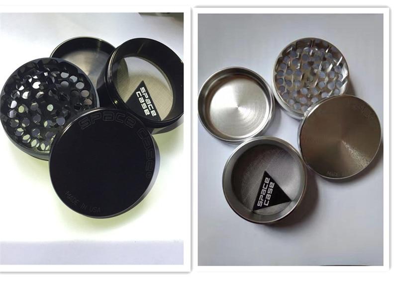 Top Brand Sliver / Qara Alüminium 63 mm boşluq otu VS SharpStone siqaret çəkmək üçün Taşlama CNC metal tütün ot bitkisi