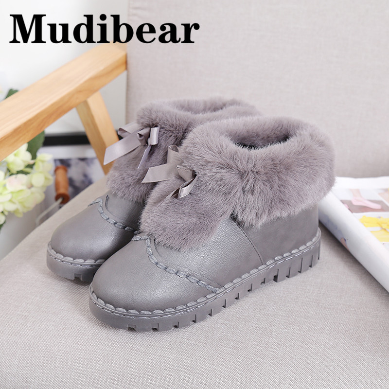 Mudibear Round Toe Flat Boots For Women Suede Boots Platform Ankle Winter Woman Shoes Short Plush Female Ladies Gray botas mujer flat booties work military combat short female fall 2017 autumn shoes green suede women ankle boots 2016 round toe fashion