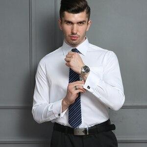 Image 5 - Мужская классическая рубашка под смокинг, формальная деловая рубашка с длинными рукавами и французскими манжетами на пуговицах, свадебная одежда