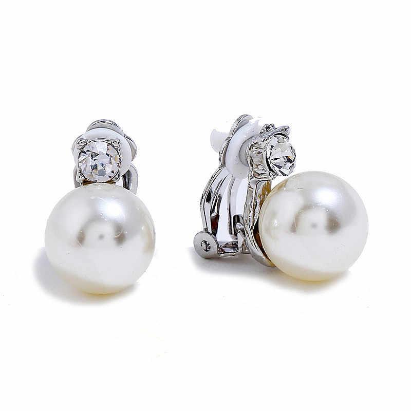 2018 Hot AAA cubique zircone Clip boucles d'oreilles perle bijoux Clip boucles d'oreilles sans Piercing pas de trou boucles d'oreilles pour les femmes cadeau de noël