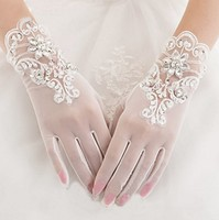 Gorgeous Ivory Finger Bridal Gloves Elastic Tulle Wedding Gloves Sparkly Crystals Beads Sequins Short Women Wedding Gloves