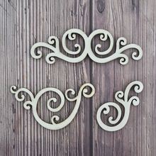 Happymems Wholesale Vintage Wood Shapes 150pcs Laser Cut Decorative Hollow Natural Pine DIY Crafts Home Decoration Party