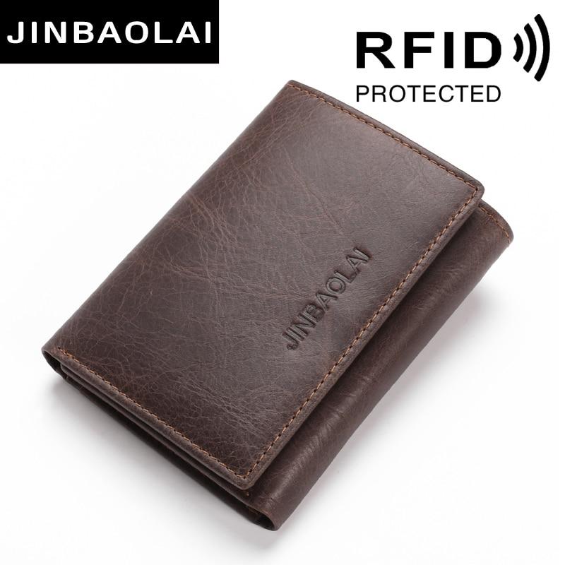 JINBAOLAI RFID Blocking Echtes Leder Brieftaschen 3 Falten Kurze Männlichen Kupplung Leder Brieftaschen Kreditkarte Halter Carteira Geldbörsen Taschen