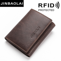 JINBAOLAI RFID Blocking Genuine Leather Wallets 3 Fold Short Male Clutch Leather Wallets Credit Card Holder