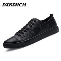 DXKZMCM 2017 Handmade Genuine Leather Men Casual Shoes Comfortable Men Shoes Breathable Men Flats SIZE 38