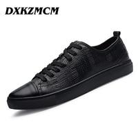 DXKZMCM 2017 Handmade Genuine Leather Men Casual Shoes Comfortable Men Shoes Breathable Men Flats SIZE 38