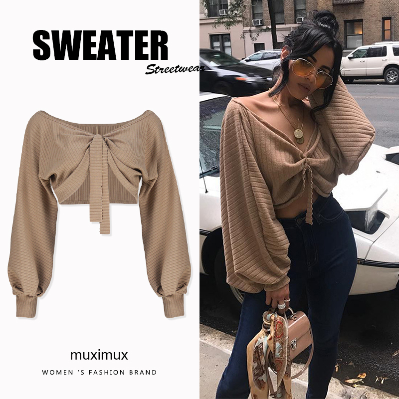 2018 Autumn Women Sweaters Lantern Sleeve Loose Pullover Female Streetwear Jumper Winter Knitted Short Sweater