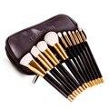DE'LANCI 10 unids Fundación Pelo Sintético Pinceles de Maquillaje Profesional Conjunto Blanco Sombra de Ojos Kits de Cepillo Cosméticos Con El Bolso Negro