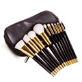 DE'LANCI 10pcs Professional Makeup Brushes Set White Synthetic Hair Foundation Eyeshadow Cosmetic Brush Kits With Black Bag