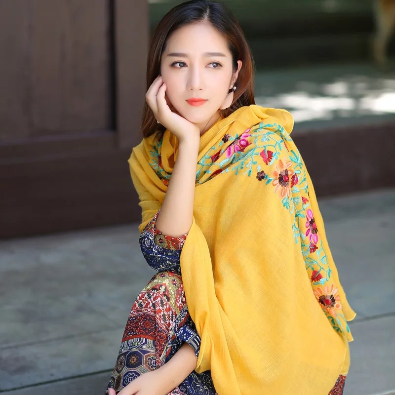 Spring autumn 2017 all-match art long embroidered flowers cotton scarf shawl scarves sun folk style tourism