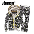 Jolintsai 2017 Camuflagem Dos Homens do Velo Hoodies Com Capuz Sportwear Homens Suor Ternos Jaqueta Masculina + Calças Conjuntos de fatos de Treino Do Exército Dos Homens
