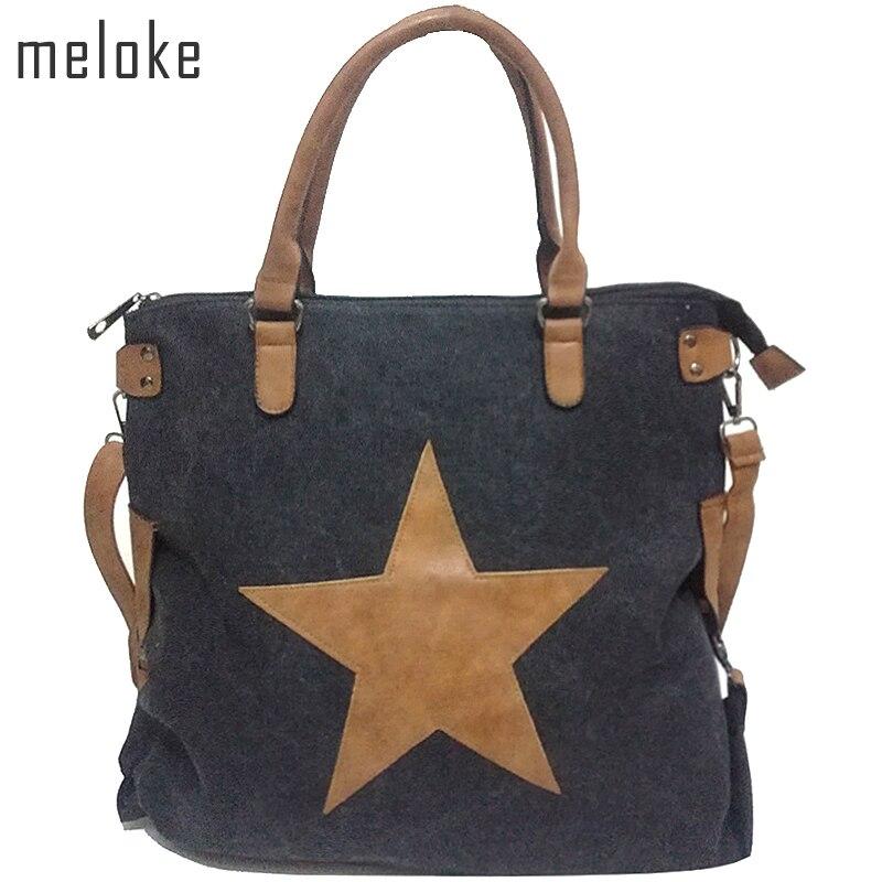 Meloke BIG STAR VINTAGE CANVAS SHOULDER BAGS 2017 Multifunctional Travel Shopping bag Plus Size Tote Handbag beach bags