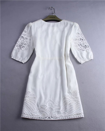 2cffb64b70 high street fashion brands all white casual dresses half sleeves dress for women  hollow cut embroidered summer silk floss dress-in Dresses from Women s ...