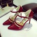 Туфли на Высоком каблуке женщин весной и осенью с слово разрез пряжка 10 СМ обувь одного ол розовый ню лакированные туфли дамы