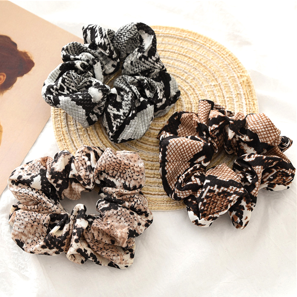 Women Scrunchies Snake /Leopard Elastic Hair Bands Ladies Stretch Ponytail Holder Print Headband Solid   Headwear   Hair Accessories