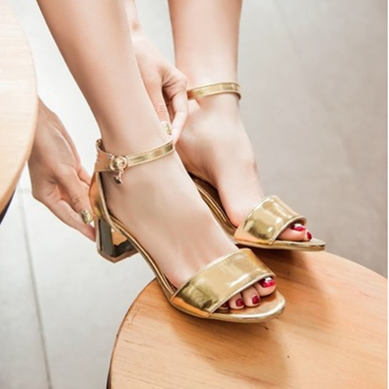 Lady Plus size (4-12)European and American Soft leather Peep toe Single Square high heels Summer shoes women pumps Sandals Gold lady glitter high fashion designer brand bow soft flock plus size 43 leisure pointed toe flats square heels single shoes slip on