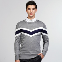 2017 winter men's long sleeve jumper sweater casual cotton knit England Style grey black Mens pullover sweater