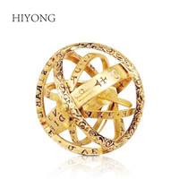 HIYONG 925 Sterling Silver Gold Astronomical Ball Ring for Women Vintage Astronomical Ring Couples Rings Bijouterie for Unisex