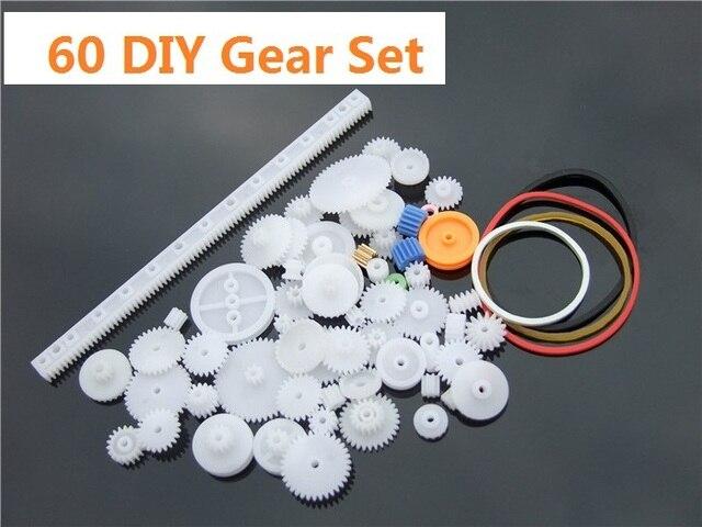 60 pcs/lot Plastic Gear Set DIY Rack Pulley Belt Worm Single Double Gears Free Shipping Russia