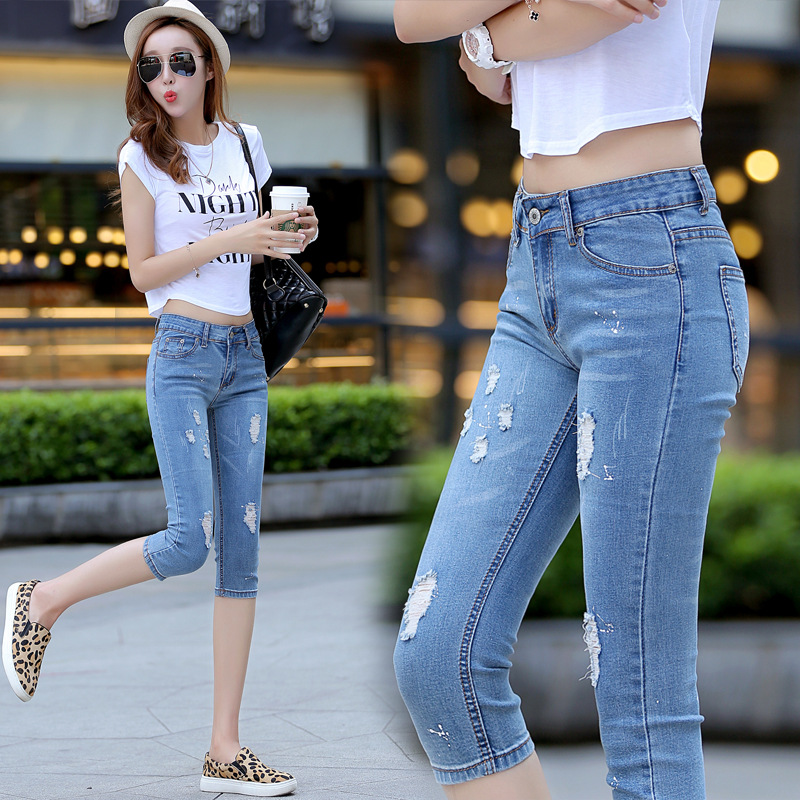 New Summer fashion jeans Capris Short Denim pants thin female Sexy Casual stretch pencil pants Blue Hole Skinny Jeans Z1873 flower embroidery jeans female blue casual pants capris 2017 spring summer pockets straight jeans women bottom a46