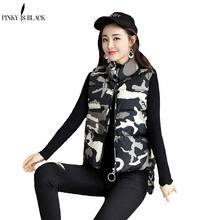 Genuine Ladies Vest Jacket 2015 Winter Women Korean Printing Cotton Short Slim Down cotton Hooded women coat