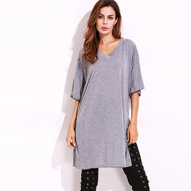 New 2018 Summer Fashion Women Side Slit Extra Long T-shirts European Runway  Short Sleeve Split Loose V-neck t shirt For Female b9a3e103ddb
